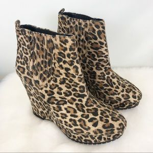 BCBGeneration Leopard Wedge Ankle Boots 7.5 NWOB